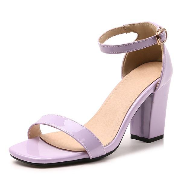 Vrouwen Patent Leather Chunky Heel Sandalen Pumps Peep Toe met Gesp schoenen