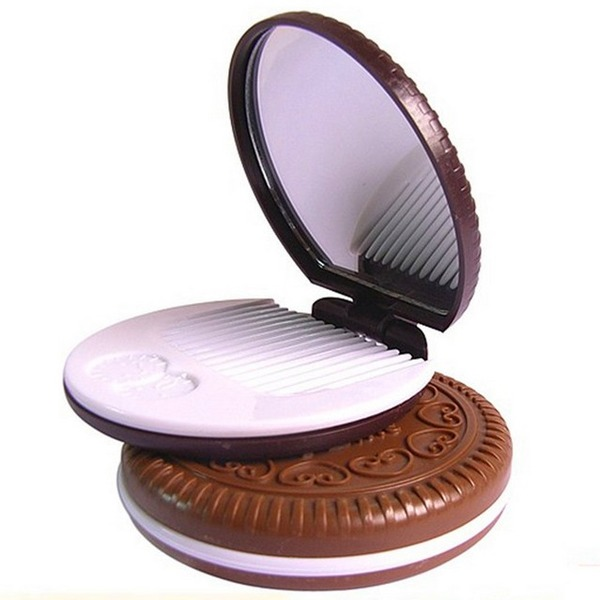 """Runde Cookies"" Plast/Glass Compact Mirror (Sett med 4)"