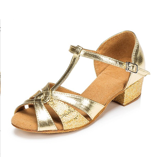 Women's Sparkling Glitter Sandals Pumps Latin With T-Strap Buckle Hollow-out Dance Shoes