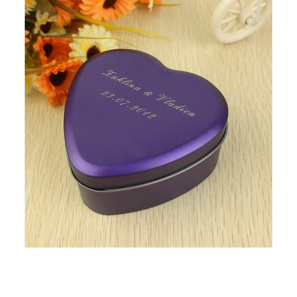 Personalized Heart Shaped Metal Favor Tin (Set of 24)