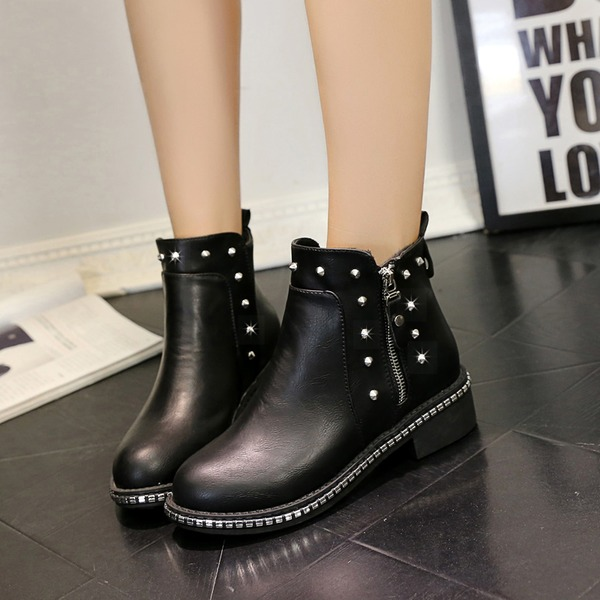 Women's Leatherette Low Heel Closed Toe Boots Ankle Boots With Rivet Zipper shoes