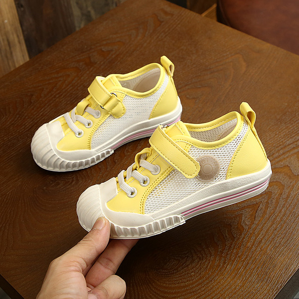 Girl's Round Toe Closed Toe Mesh Flat Heel Flats Sneakers & Athletic Flower Girl Shoes With Velcro Lace-up