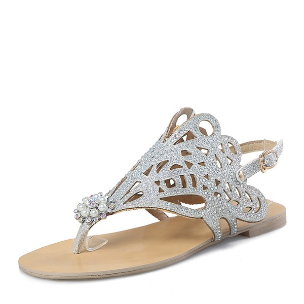 Women's Sparkling Glitter Flat Heel Flip-Flops Peep Toe Sandals With Sequin