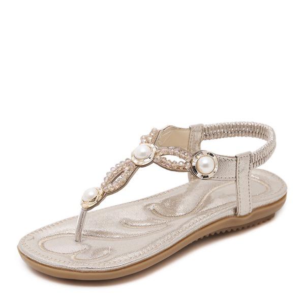 Frauen Kunstleder Flascher Absatz Sandalen Peep Toe Slingpumps mit Strass Nachahmungen von Perlen Gummiband Schuhe