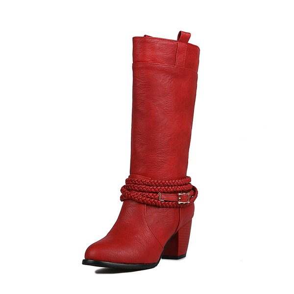 Women's PU Chunky Heel Pumps Boots Mid-Calf Boots With Braided Strap shoes
