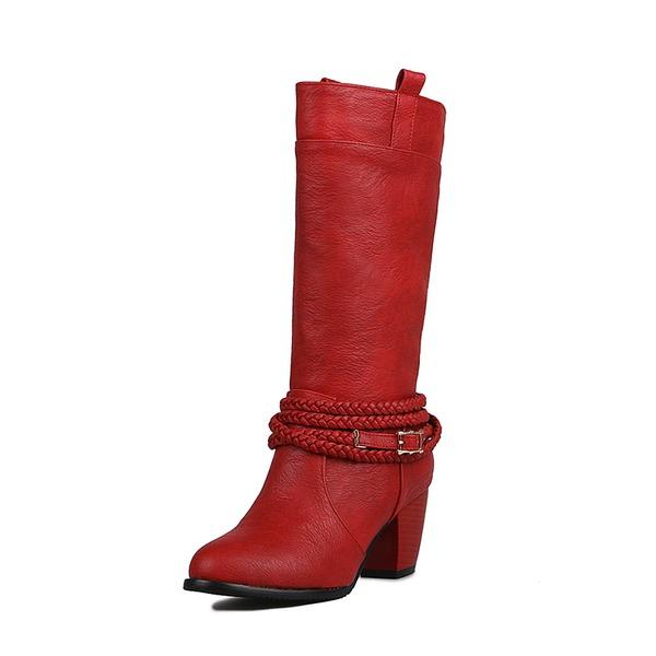 Femmes PU Talon bottier Escarpins Bottes Bottes mi-mollets avec Lanière tressé chaussures