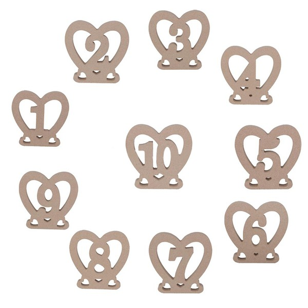 """Heart Shaped/""""Sweet Heart"""" Heart Shaped Wooden Table Number Cards (Set of 10)"""