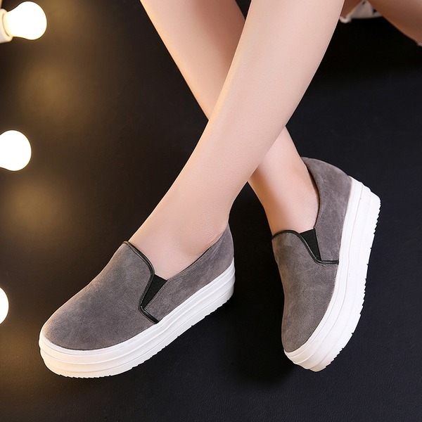 Women's Suede Wedge Heel Closed Toe Wedges With Split Joint shoes