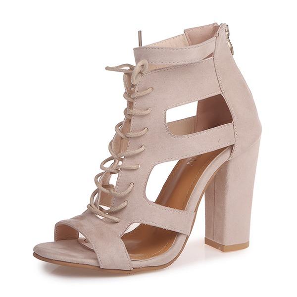 Frauen Veloursleder Stämmiger Absatz Sandalen Absatzschuhe Peep Toe mit Zuschnüren Schuhe