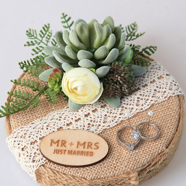 Personalized Linen Ring Holder With Artifical Plants