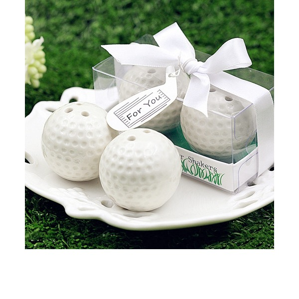 Ceramic Golf Ball Salt and Pepper Shaker Club Promotion Gifts (Set of 2)