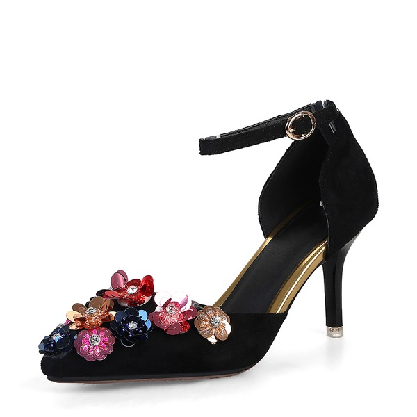Women's Suede Stiletto Heel Pumps Closed Toe With Flower shoes