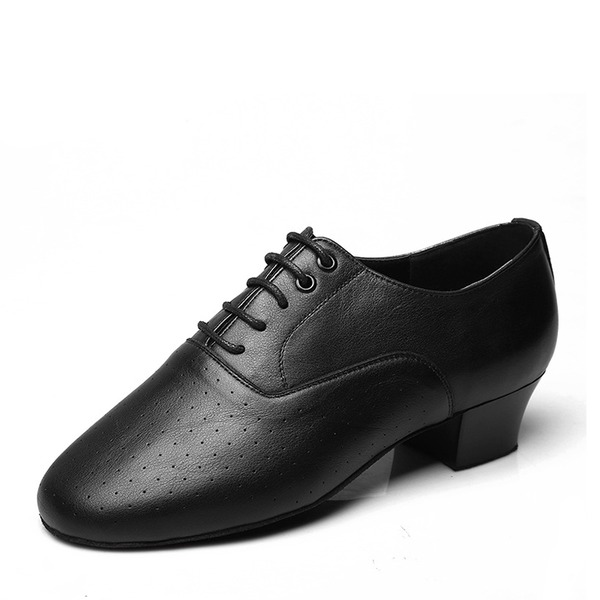 Men's Real Leather Latin Modern Ballroom Swing With Lace-up Dance Shoes