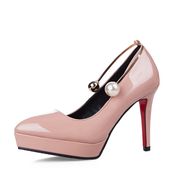 Women's Patent Leather Stiletto Heel Pumps Platform Closed Toe With Imitation Pearl Buckle shoes