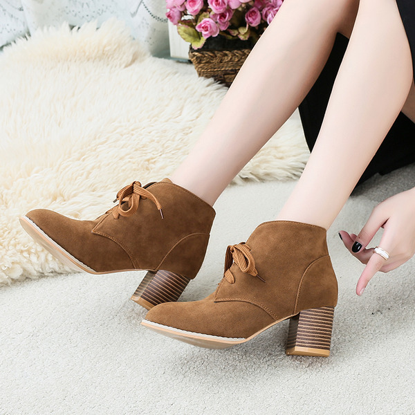 Women's Suede Chunky Heel Ankle Boots With Split Joint shoes