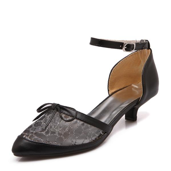 Femmes Similicuir Mesh Talon stiletto Escarpins Bout fermé Mary Jane avec Bowknot Boucle chaussures