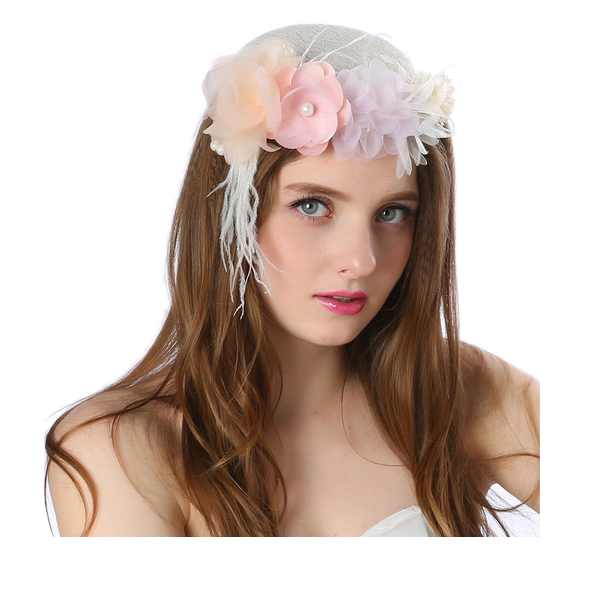 Ladies' Beautiful/Gorgeous/Fashion/Special Linen With Flower Fascinators