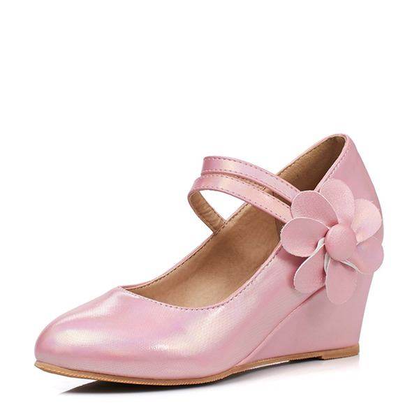 Women's PU Wedge Heel Closed Toe Wedges With Flower shoes