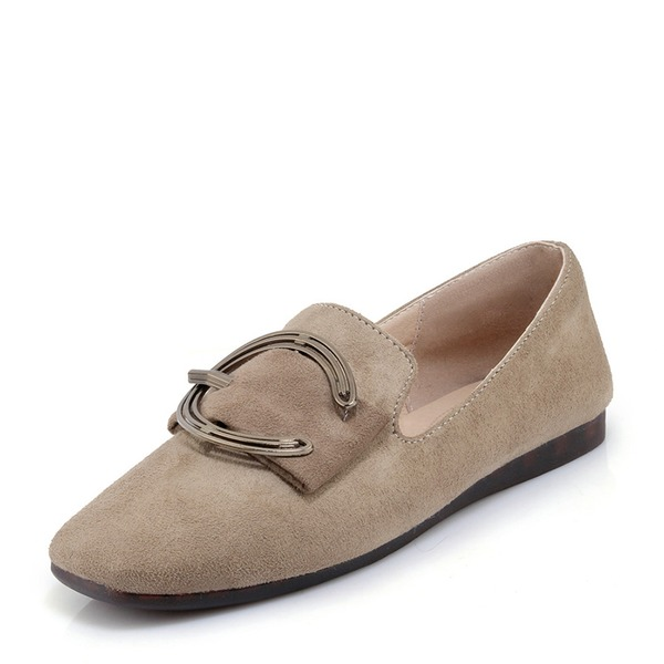 Women's Suede Flat Heel Flats With Buckle shoes