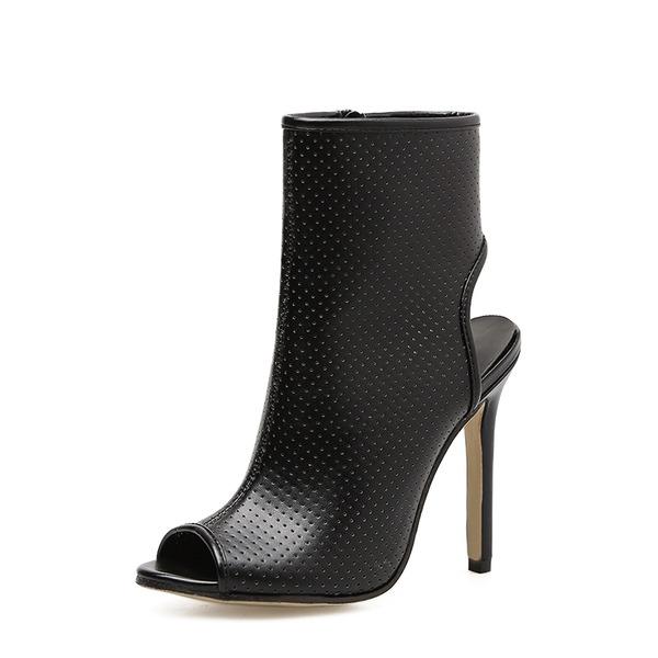 Femmes PU Talon stiletto Escarpins Bottes À bout ouvert Escarpins Bottines avec Zip chaussures