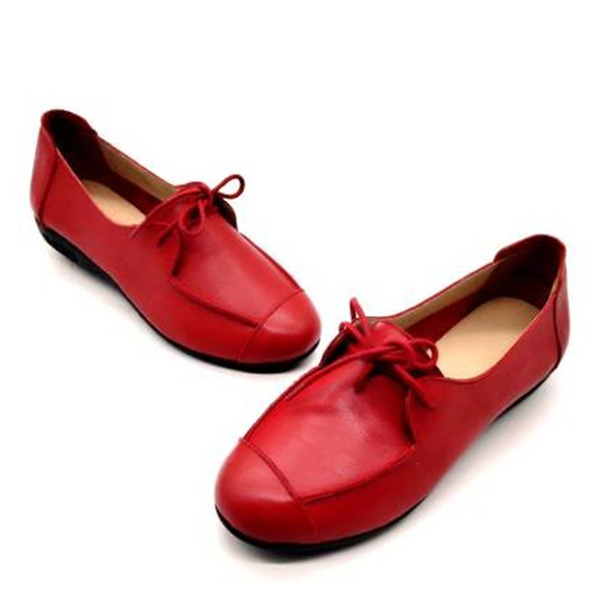 Women's Real Leather Flat Heel Flats أحذية