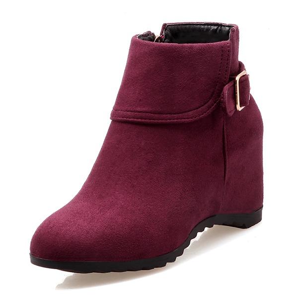 Frauen Veloursleder Keil Absatz Geschlossene Zehe Stiefel Stiefelette mit Schnalle Schuhe