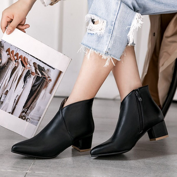 Women's PU Chunky Heel Flats Boots Ankle Boots With Zipper shoes