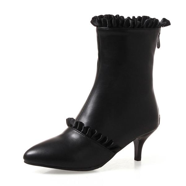 Mulheres Couro Salto agulha Bombas Fechados Botas Bota no tornozelo Botas na panturrilha com Ruched Zíper sapatos