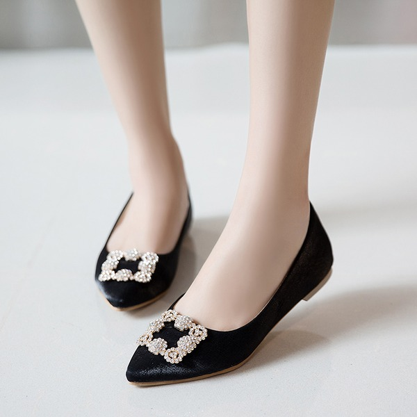 Women's Fabric Flat Heel Flats Closed Toe With Rhinestone shoes