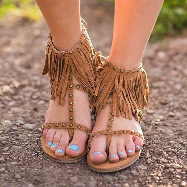 Women's Suede Flat Heel Sandals Flats With Tassel shoes