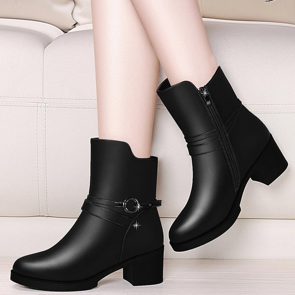 Women's PU Chunky Heel Boots shoes
