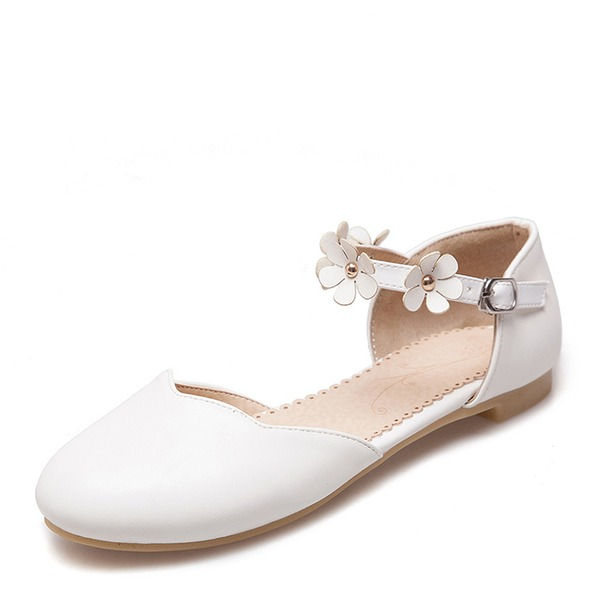 Women's PU Flat Heel Flats Closed Toe With Flower shoes