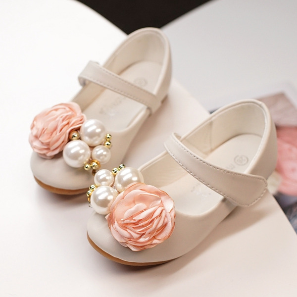 Girl's Round Toe Closed Toe Leatherette Flats With Satin Flower Velcro