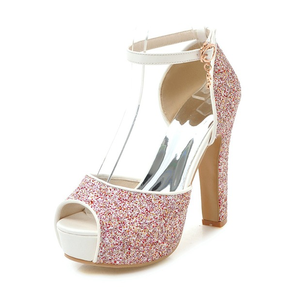 Vrouwen Sprankelende Glitter Chunky Heel Sandalen Pumps Plateau Peep Toe met Gesp schoenen