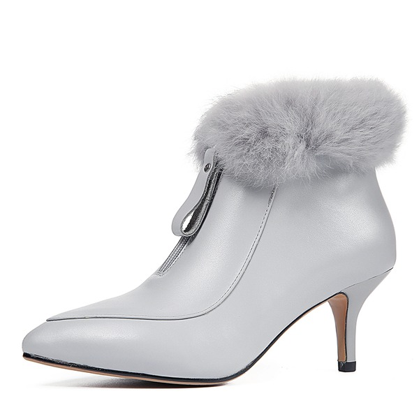Women's Real Leather Stiletto Heel Pumps Closed Toe Boots Mid-Calf Boots With Zipper Fur shoes