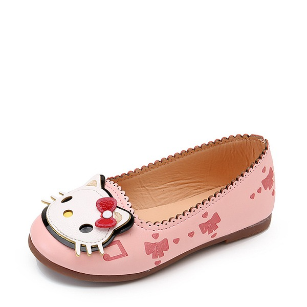Girl's Closed Toe Leatherette Flat Heel Flats Flower Girl Shoes With Animal Print