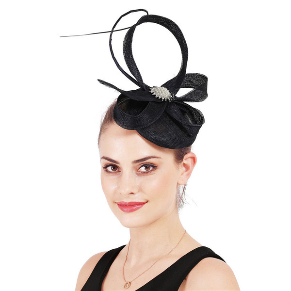 Dames Simple/Accrocheur Batiste avec Feather Chapeaux de type fascinator