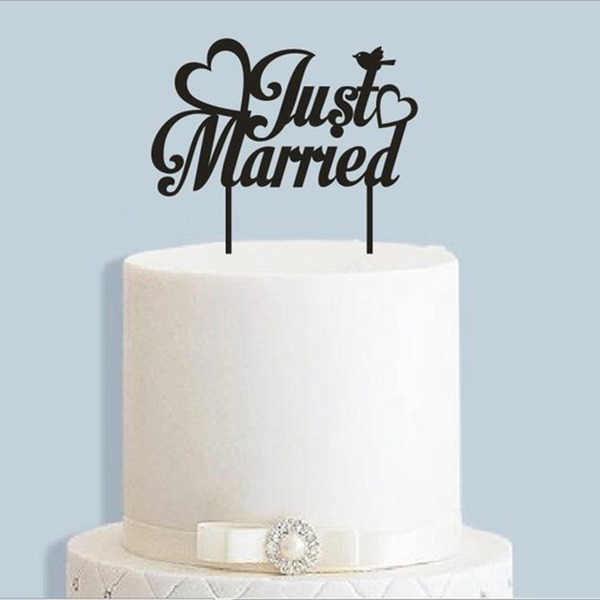 """Just Married"" Acrylic/Wood Cake Topper"