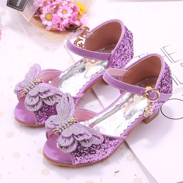 Girl's Peep Toe Leatherette Low Heel Pumps Flower Girl Shoes With Bowknot Buckle Rhinestone Sparkling Glitter