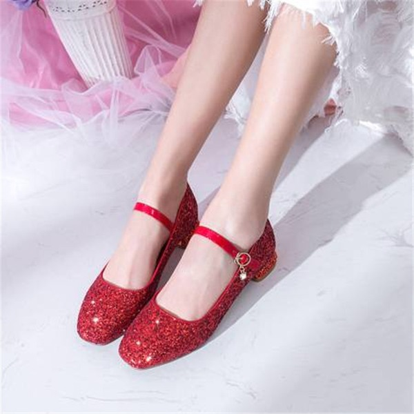 Women's Sparkling Glitter Chunky Heel Pumps Mary Jane With Sequin shoes
