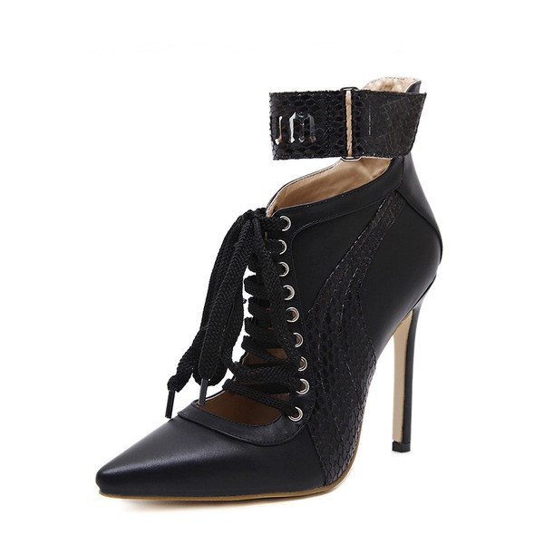 Women's PU Stiletto Heel Boots Ankle Boots With Lace-up shoes