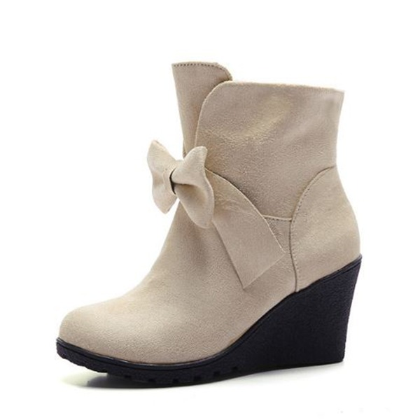 Women's Suede Wedge Heel Pumps Closed Toe Wedges Boots Ankle Boots With Bowknot shoes