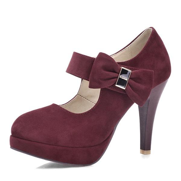 Женщины Замша Высокий тонкий каблук На каблуках Платформа Закрытый мыс с бантом обувь
