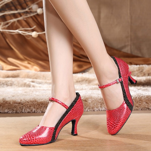 Women's Leatherette Heels Pumps Swing With Buckle Dance Shoes