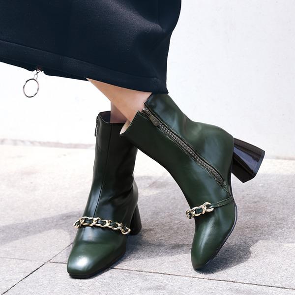Femmes Similicuir PU Talon cône Escarpins Bottes avec Chaîne chaussures