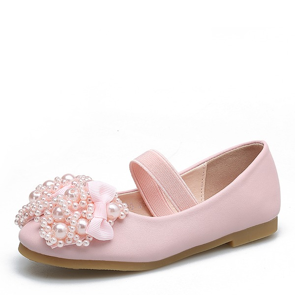 Girl's Round Toe Leatherette Flat Heel Flats Flower Girl Shoes With Bowknot Rhinestone