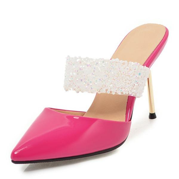 Femmes PU Talon stiletto Sandales Escarpins Escarpins Chaussons avec Strass chaussures