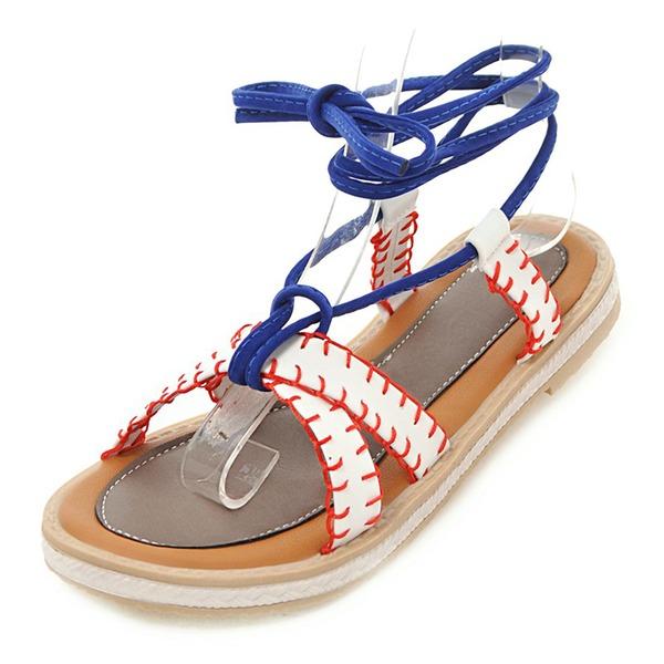 Donna PU Senza tacco Sandalo Ballerine con Allacciato scarpe