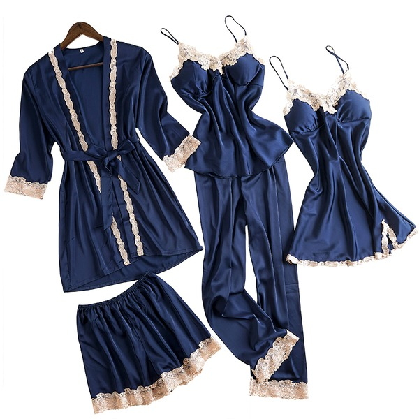 Polyester Classic Feminine Sleepwear Sets (Set of 4)