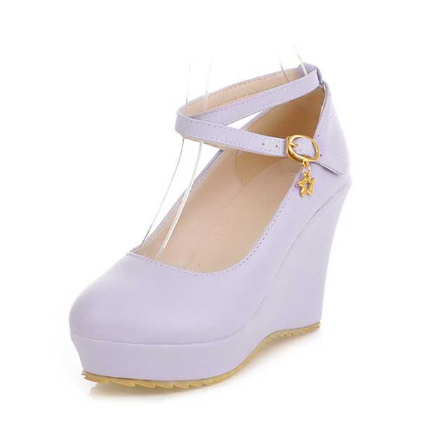 Women's PU Wedge Heel Closed Toe Wedges With Buckle shoes
